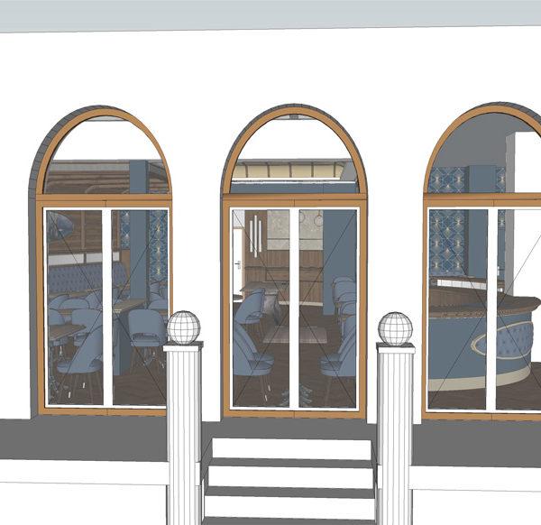 Entwurf Visualisierung des Hotels Bild 04 – Ansicht Fensterfront mit Blick in ein Zimmer