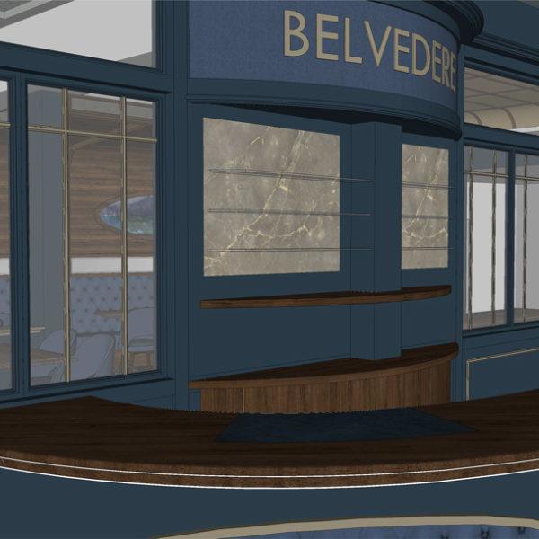 Entwurf Visualisierung des Hotels Bild 05 – Empfangstresen