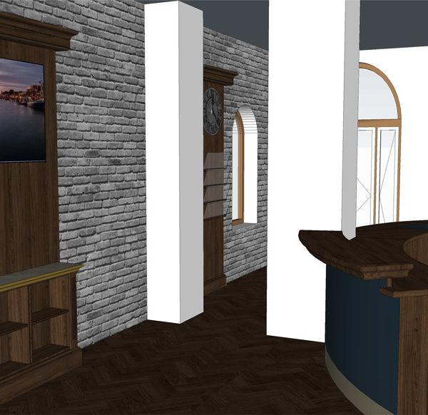 Entwurf Visualisierung des Hotels Bild 07 – Empfangstresen