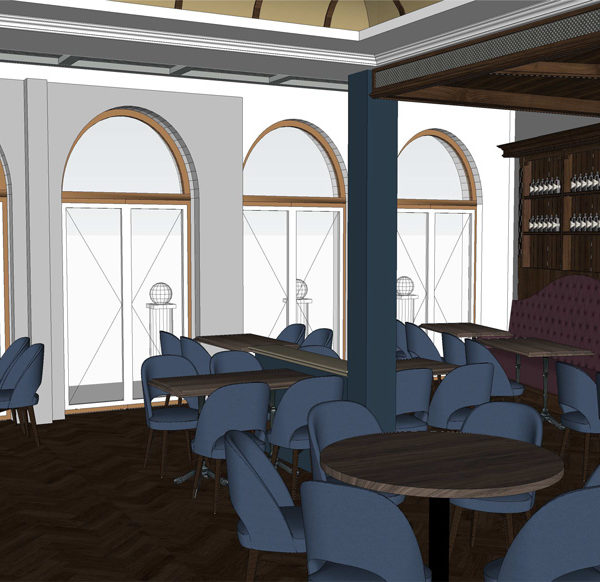 Entwurf Visualisierung des Hotels Bild 09 – Restaurantansicht