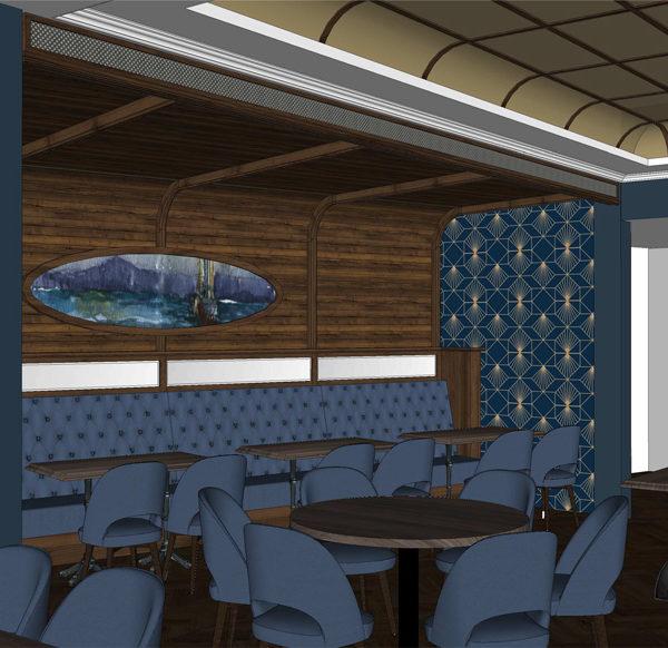 Entwurf Visualisierung des Hotels Bild 11 – Bereich mit Tischen