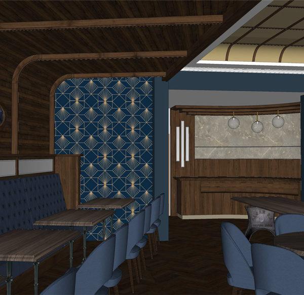 Entwurf Visualisierung des Hotels Bild 12 – Bereich mit Tischen