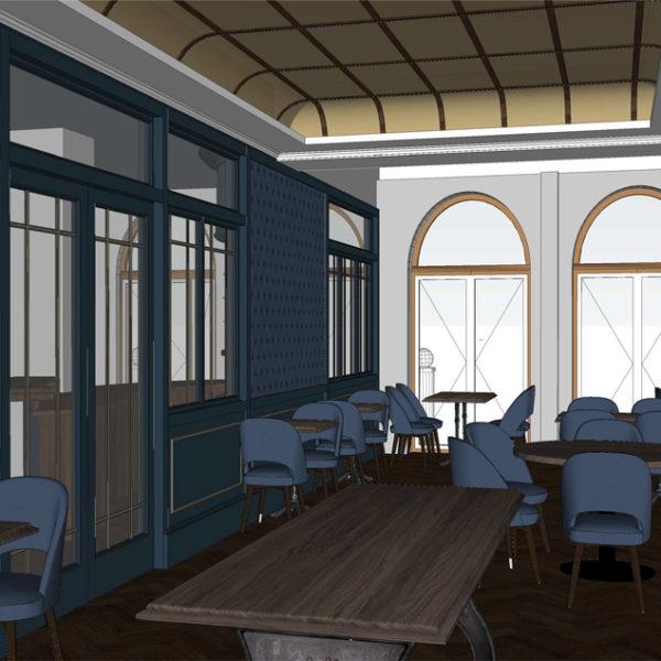 Entwurf Visualisierung des Hotels Bild 14 – Restaurantansicht