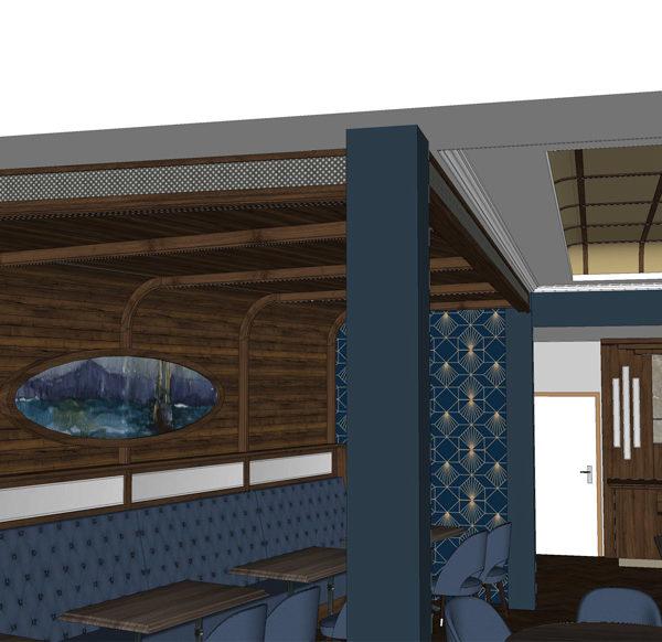 Entwurf Visualisierung des Hotels Bild 15 – Restaurantansicht